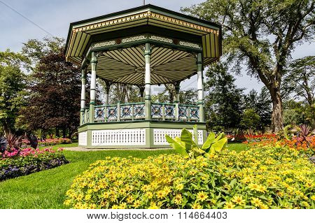 Gazebo On Hill Behind Yellow Daisies