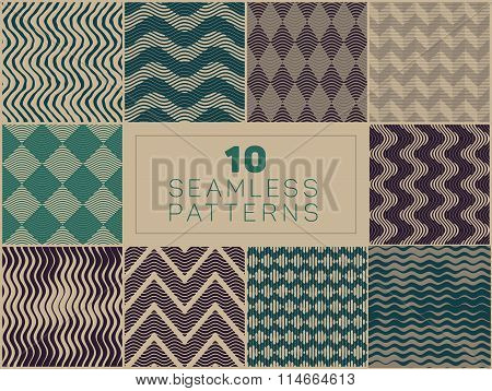 Set Of Ten Vector Seamless Hand Drawn Rough Engraving Line Linocut Patterns In Green And Grey Colors