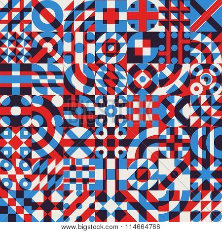Vector Seamless Blue Red White Color Overlay Irregular Geometric Blocks Quilt Pattern