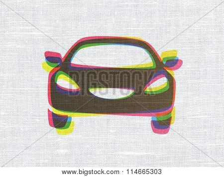 Travel concept: Car on fabric texture background