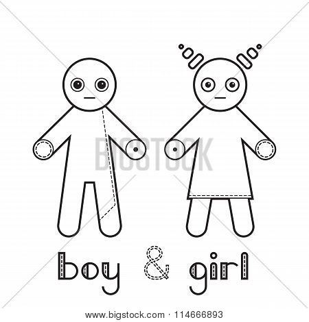 Happy couple classic relationship boyfriend and girlfriend stick figure pictogram icon