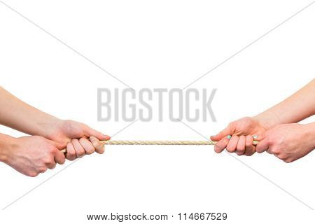Female Arms Pulling Rope On White Background