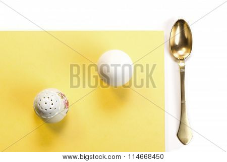Egg, Salt Cellar And Brass Spoon
