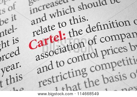 Definition Of The Word Cartel In A Dictionary