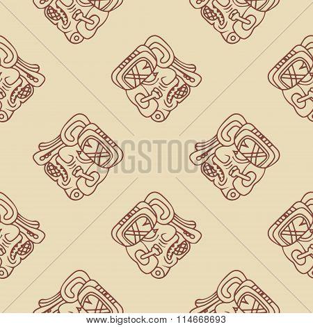 seamless pattern with symbol of the Maya Night Lord