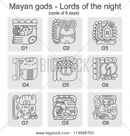 set of monochrome icons with  glyphs of the Maya Night Lord