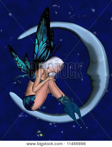 Silver-blue Moon Fairy with starry nighttime background 2