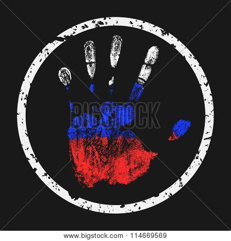 Handprint Russian Flag