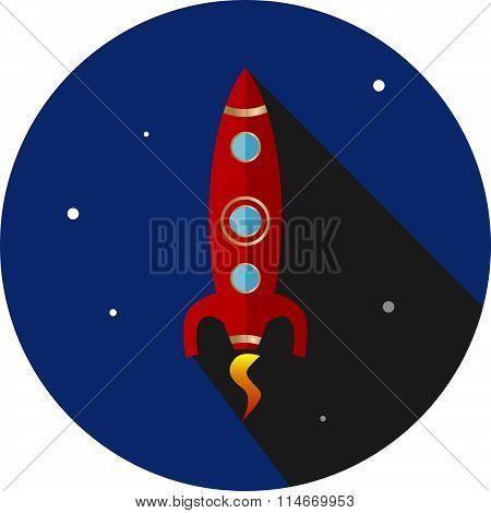 Flat Rocket Icon