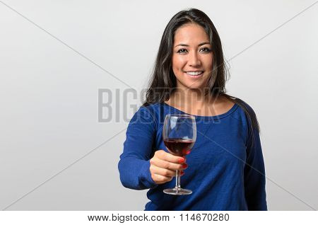 Happy Attractive Young Woman Toasting With Wine