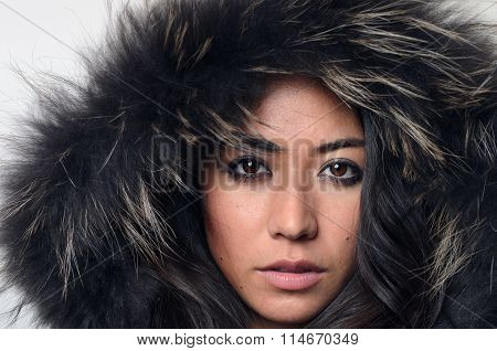 Pretty Woman In A Furry Hood