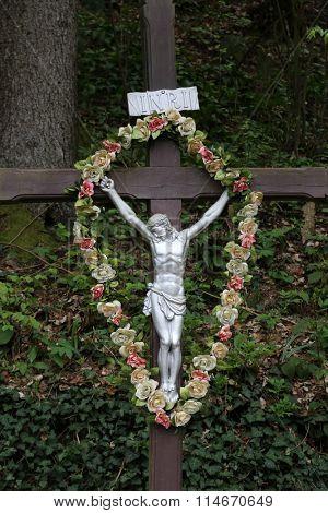 ZAGORJE, CROATIA - APRIL 05: Roadside Crucifix in Zagorje region, Croatia on April 05, 2014.