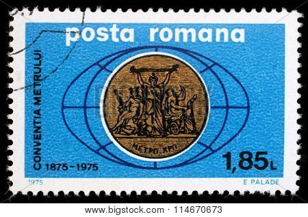 ROMANIA - CIRCA 1975: A stamp printed in Romania dedeicated to Conventia Metallurgica, circa 1975