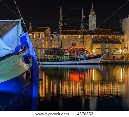 Old city Trogir and boats at night, Croatia.
