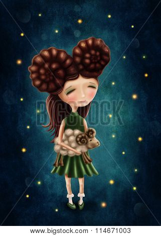 Illustration with a aries astrological sign girl