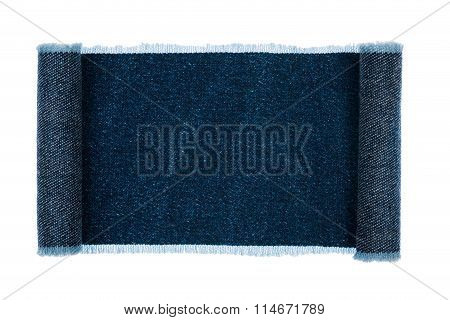 Denim Frame Folded In The Form Of Manuscripts, On A White Background