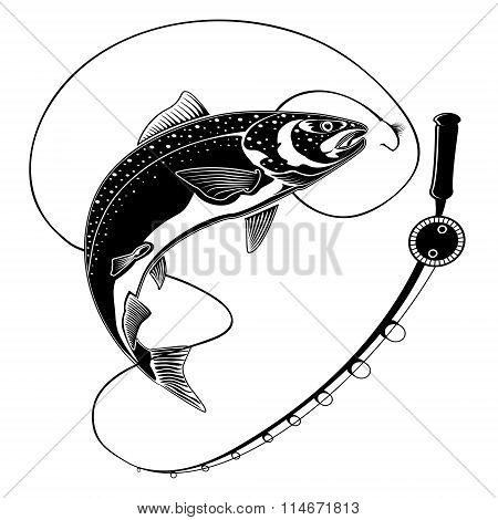 Salmon Fish With Fishing Rod Black White