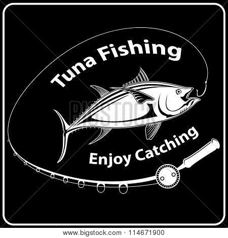 Tuna Fish With Fishing Rod Black