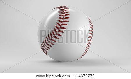 Single Baseball Ball with Shadow on White Background
