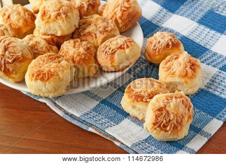 Home made cheese scones on table cloth