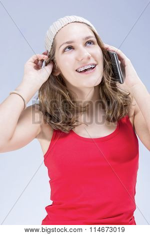 Dental Cure, Orthodontics Concept And Ideas. Blond Caucasian Teenager Wearing Teeth Braces And Speak