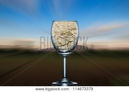 Concept, The Dry Ground In A Glass Of Wine