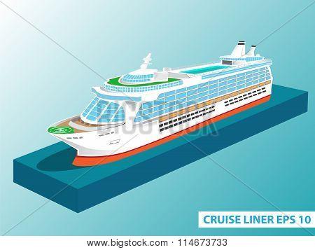 Cruise Liner Ocean Trip Color