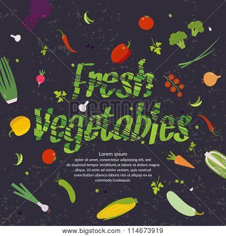 Fresh Vegetables, Background For Menu Or Poster.