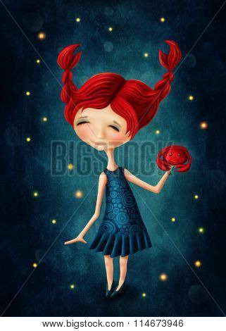 Illustration with a cancer astrological sign girl