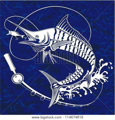 Marline Fish Blue Retro Paper 1