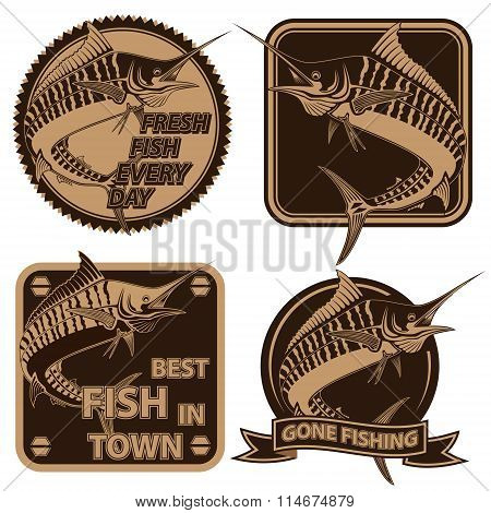 Marline Fish Fishing Logos Collection 1