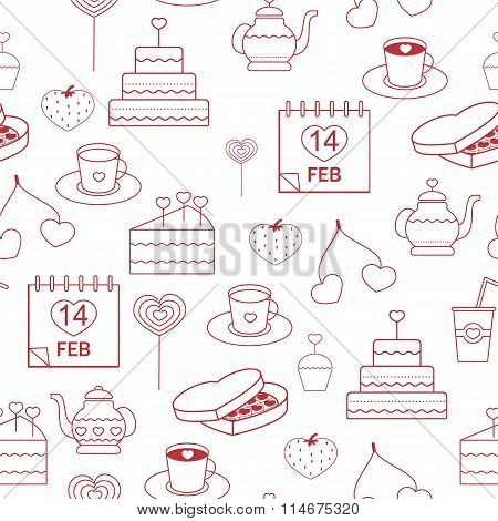 seamless pattern linear style icons red on a white background. pastries decorated with hearts for Va