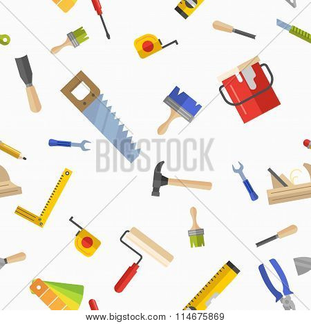 Seamless Pattern With Tools For Repair