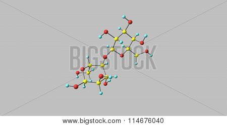 Lactose molecular structure isolated on grey