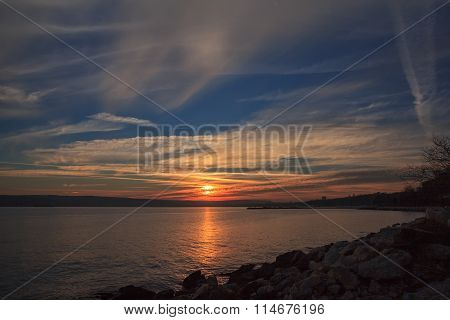 sunset over the Black sea.