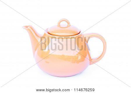 Orange Ceramic Teapot Isolated On White Background