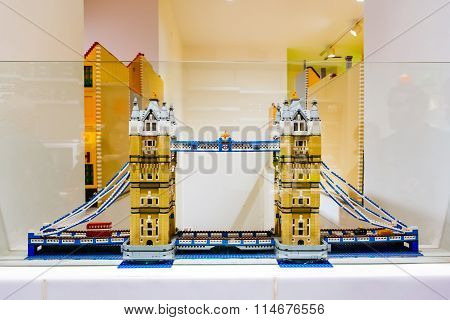 Copenhagen, Denmark - January 3, 2015: Lego Figurines And Forms In Copenhagen Lego Store Showing Tow