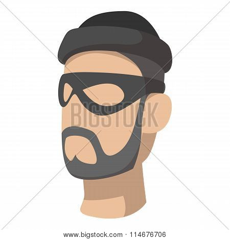 Man in black mask and cap with a beard