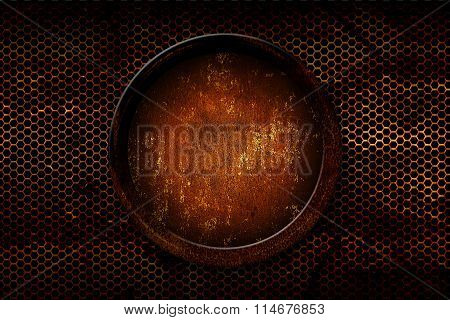 Rusty Metal Circle Frame. Metal Plate On Rusty Metal Mesh.