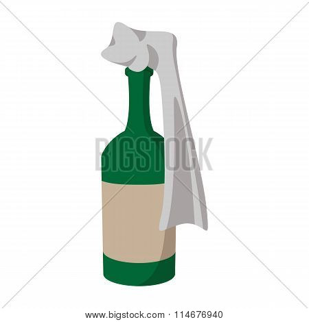 Glass bottle filled with gasoline