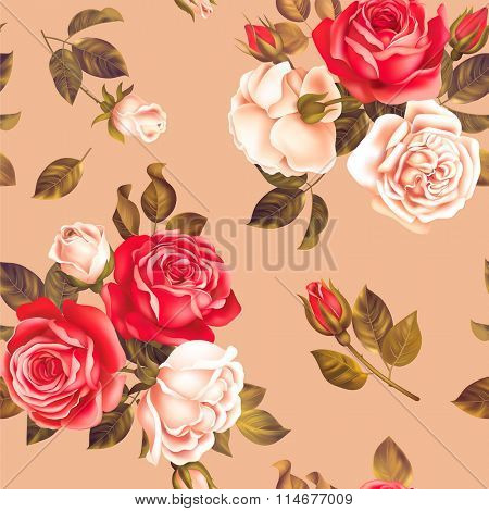 Seamless pattern with red and white roses. Vector illustration.