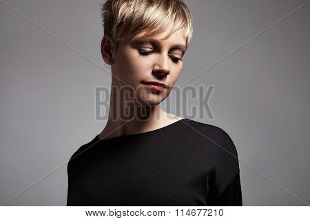 Pretty Short Haired Blond Woman's Portrait