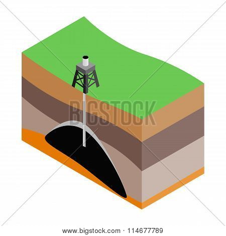 Oil extraction isometric 3d icon