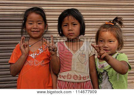 Three Little Nepali Girls