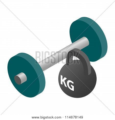 Barbell and weight isometric 3d icon