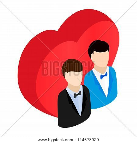 Two male and red heart isometric 3d icon