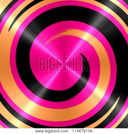 Abstract Gold Black Pink Spiral Stainless Steel Background