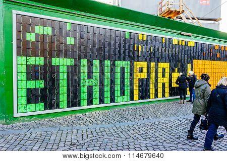 Copenhagen, Denmark - January 3, 2015: Street Graffiti In Copenhagen Dedicated To Ethiopia