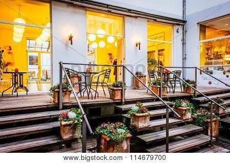 Copenhagen, Denmark - January 3, 2015: Street Scene And Restaurant In Copenhagen Denmark
