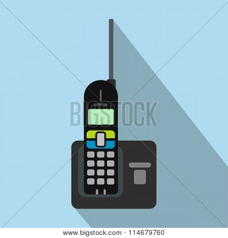 Wireless phone with antenna flat icon